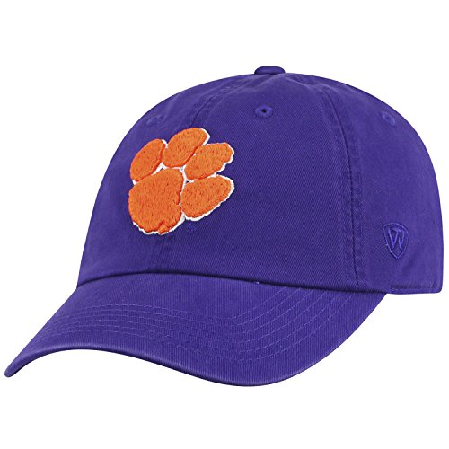 Top of the World NCAA Mens College Town Crew Adjustable Cotton Crew Hat Cap (Clemson Tigers-Purple With Paw, Adjustable)
