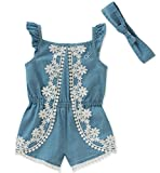Calvin Klein Baby Girls Romper Set, Light Blue Denim, 24M