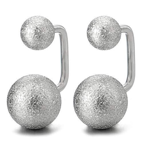 (Pair Satin Ball U-shape Stainless Steel Huggie Hinged Earrings for Women and Men, Screw Back)