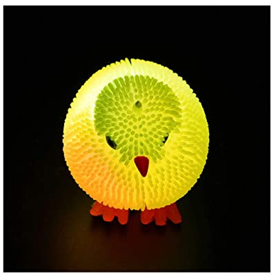 Wenini 6CM Novelty Flashing Puffer Cute Chickens Squidgy Sensory Toy Activity and Play Ball Stress Reliever Toys (Random Colour): Toys & Games