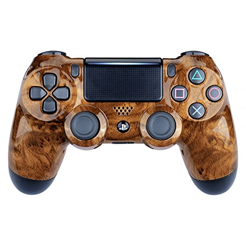 eXtremeRate Bird's Eye Wood Grain Hydro Dipped Front Housing Shell Case, Faceplate Cover Replacement Kit for Playstation 4 PS4 Slim PS4 Pro Controller (CUH-ZCT2 JDM-040 JDM-050 JDM-055)