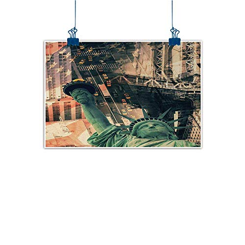 (Sunset glow Artwork Office Home Decoration American,New York City Street Scenery Liberty Statue and USA Flag Freedom Torch Illustration,Red Grey 48