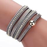 Willsa Women Fashion Bohemian Woven Braided Handmade Magnetic Clasp Bracelet (Gray)