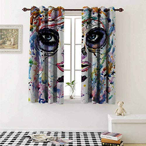 shenglv Sugar Skull Blackout Draperies for Bedroom Halloween Girl with Sugar Skull Makeup Watercolor Painting Style Creepy Look Curtains Kitchen Valance W72 x L63 Inch Multicolor