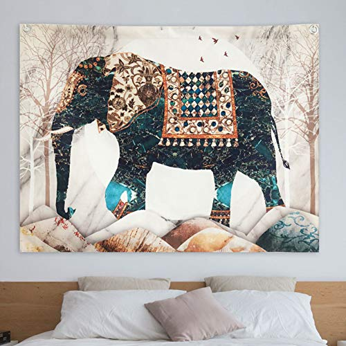 Grace Store Boho Elephant Tapestry Wall Hanging Indian Colorful Elephant Tapestry Hippie Tapestry for Dorm, Beach Throw, W59 x L51 ()