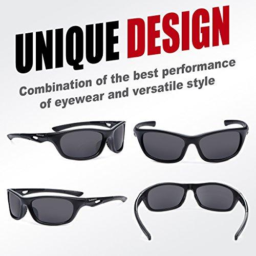 Duduma Polarized Sports Sunglasses for Baseball Running Cycling Fishing Golf Tr90 Durable Frame (646 black matte frame with black lens)