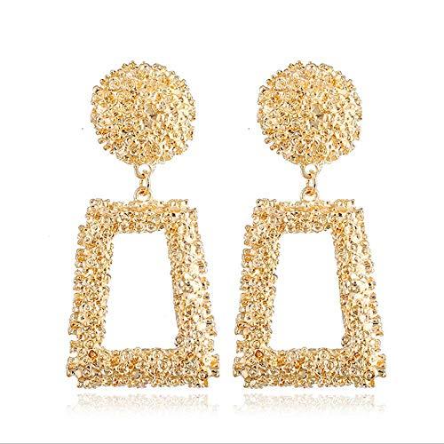 Hollow Geometric Large Square Dangle Earrings Metal Statement Drop Earrings Punk Bohemian Raised Textured Design Big Hoop Earrings for Women Fashion Jewelry (Gold Rectangular ()