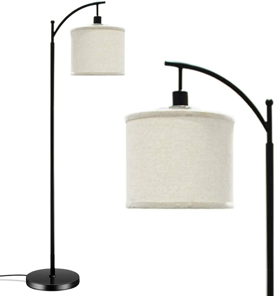 Banord Floor Lamp, LED Standing Lamp with Lamp Shade and 6W 3000K LED Bulb for Living Room, Bedroom and Office, Black
