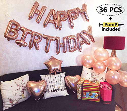 Birthday Heart 21st (Rose Gold Happy Birthday Balloons Party Decoration Set 36 pcs + Pump Included, 13 Letter Balloon Banner 1 Star and 2 Heart Foil Balloon, 20pcs Latex Balloons, Best Party Supplies)