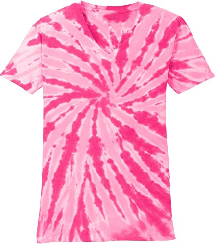 - Joe's USA Koloa Surf(tm) Ladies Colorful Tie-Dye V-Neck T-Shirt-Pink-XL
