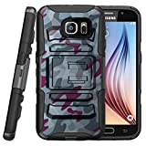 TurtleArmor | Compatible for Samsung Galaxy S7 Edge Case | G935 [Hyper Shock] High Duty Proof Belt Clip Holster Kickstand Silicone Hard Combo Camouflage Case - Gray Blue Camouflage