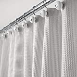MDesign Long Polyester Cotton Blend Fabric Shower Curtain With Waffle Weave And Rustproof Metal Grommets