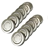 T&Co. STAMPED Stainless Steel Wide Mouth Mason Jar Lids/Tops - Set of 12 - For Pickling, Canning, Storage, Dry Goods - Durable & Rustproof - 316 Stainless