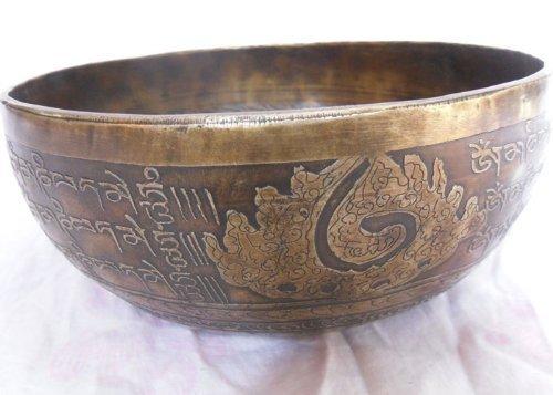 12 Inches Healing Mantra Carved Meditation Tibetan Singing Bowl, Hand Hammered Singing Bowls with Cushion & Mallet Striker