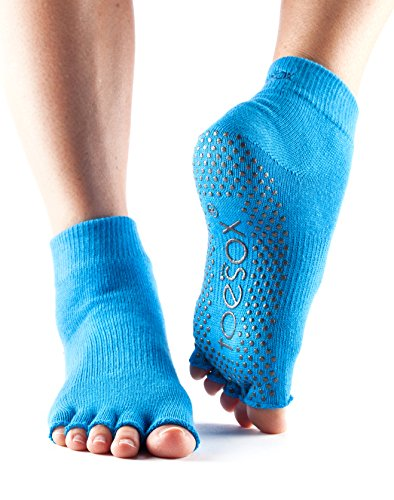 ToeSox Women's Grip Half Toe Ankle Socks, Small, Sky driver