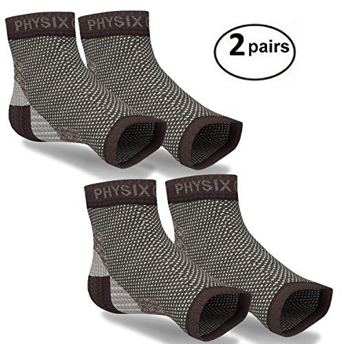 2 PAIRS Plantar Fasciitis Socks with Arch Support, BEST 24/7 Foot Care Compression Sleeve, Better than Night Splint, Eases Swelling & Heel Spurs, Ankle Circulation, Relieve Pain Fast - Black L/XL