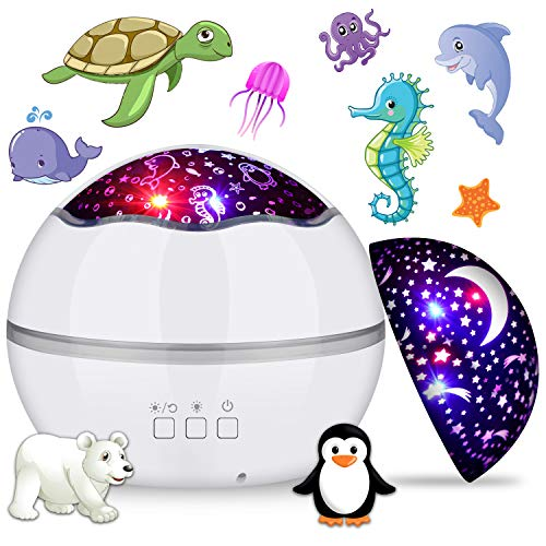 MIANTANG Rotating Night Light Projector, Starry Sky and Sea World 2 in 1, 8 Colors Baby Nursery Night Lamp, Best Gift for Kids, Friends, Birthday or Festival Party (White)