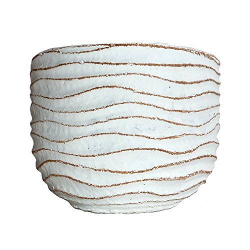 Small Flower Pot - Decorative White Cement Planter for Succulent Plants with Drainage Hole