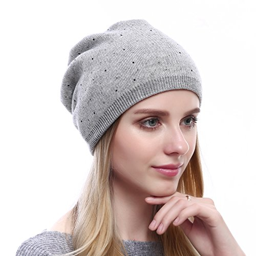 Women Wool Beanie Hat - Winter Wool Skullies Beanies Fashion Ski Cashmere Hats Oversized Cap (Soft Grey) (Double Layer Beanie)