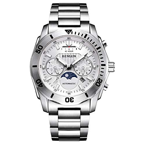 Automatic Watches for Men Waterproof Luminous Luxury Dress Sports Military Casual Stainless Steel Mechanical Men's Wrist Watch with Power Reserve Indicator Calendar Sapphire Crystal Relojes Hombre