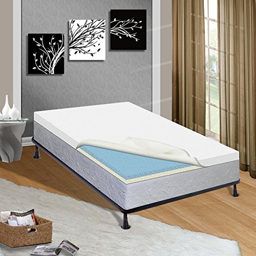 Greaton Gel Infused 2-Inch High Density Foam Topper-Adds Comfort to Mattress with Removable Cover, Queen, Size by Greaton