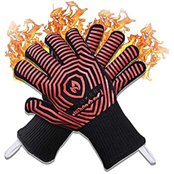 AZOKER BBQ Gloves - 932℉ Extreme Heat Resistant EN407 Certified - Silicone Non-Slip Cooking Gloves-Improved Oven Mitts-Oven Gloves for BBQ, Grill, Baking, Welding-14 (One Size Fits Most, Black Red)