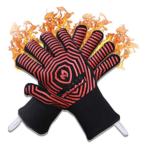 AZOKER BBQ Gloves - USA Made - 932℉ Extreme Heat Resistant EN407 Certified - Silicone Non-Slip Cooking Gloves-Improved Oven Mitts-Oven Gloves for BBQ, Grill, Baking, Welding-14