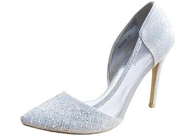 cc4c58dc092 Krasceva Women s Court Shoes Silver Silver - Silver  Amazon.co.uk ...