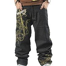 Men's Vintage Hip Hop Wings Embroidery Baggy Loose Fit Jeans