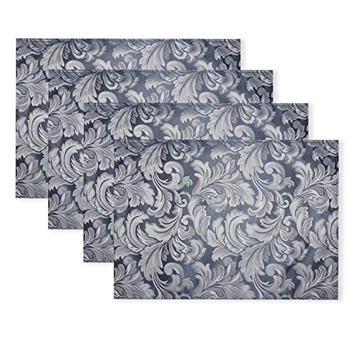 ColorBird Scroll Damask Jacquard Placemats Waterproof Spillproof Microfiber Fabric Table Place Mat Doily, Set of 4, 13 x 19 Inch, Stone Blue