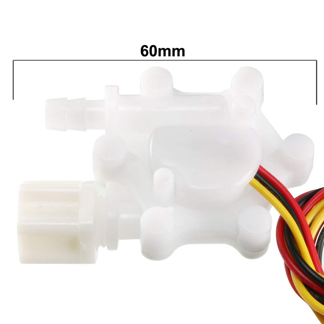 uxcell 1//4 Hall Effect Water Flow Sensor Switch Flowmeter Fluid Meter DC5V 0.3-4.0L//Min SEN-HW06FB
