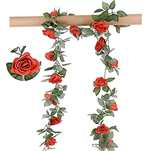 Greentime 2 Pcs Fake Flowers Vine 7.8 FT 16 Heads Silk Artificial Roses Garland Plant for Wreath Wedding Party Home Garden Wall Decoration, Red 56