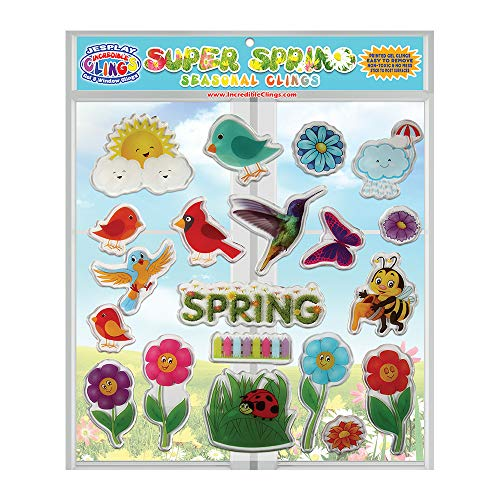 JesPlay Spring Time Seasonal Spring Thick Gel Clings - Incredible Reusable Window Clings for Kids and Adults - Incredible Gel Decals of Seasonal Birds, Bees, Flowers, Grass, Butterflies, Rain