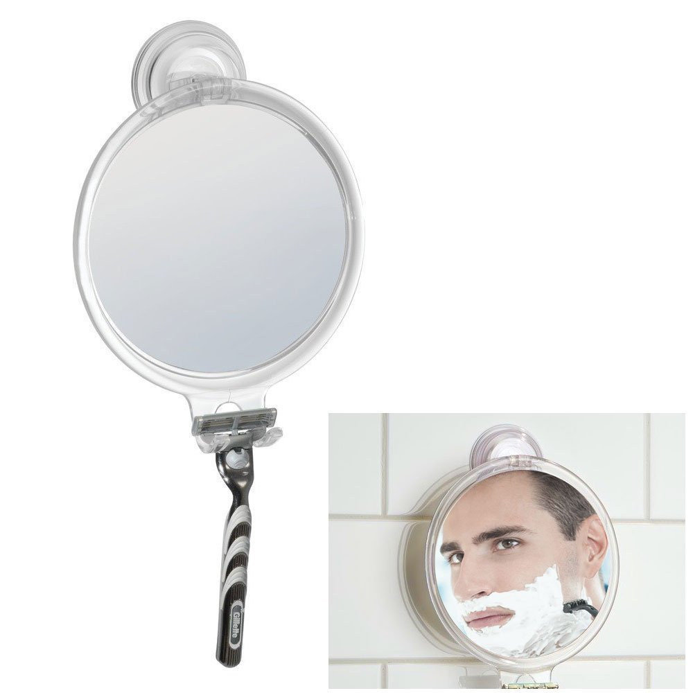 Fog Free Shower Shaving Round Oval Mirror - With Power Lock Suction Mount HowPlumb