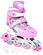 حذاء تزلج مريح قابل للتعديل مع عجلة امامية باضاءة LED يمكن ان يتحول من حذاء ثلاثي العجلات الى حذاء تزلج بصف عجلات واحد للاستخدام الخارجي والداخلي للمبتدئين والاطفال والمراهقين