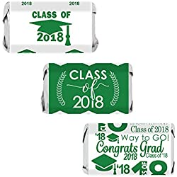 Class of 2018 Graduation Miniatures Candy Bar Wrapper Stickers, Set of 54 (Green)
