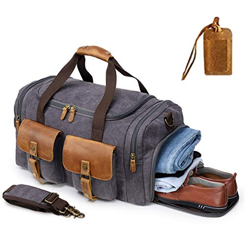 Kemy's Canva Duffe Bag for Mens Oversized Overnight Bags Weekend Duffel Weekender Travel Bags Leather Doufle Gym Carryon Airplanes Carry On Luggage with Shoe Compartment Large Easter Gift