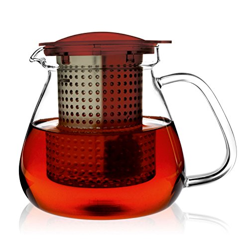 Finum Tea Control System Glass Brewing Pitcher, 35 oz, Ruby Red (Pack of 6)