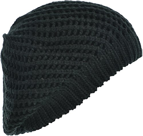 Hand By Hand Aprileo Women's Beanie Beret Hat Open Knitted Double Layer Slouchy [Black](One (Hand Knitted Hat)