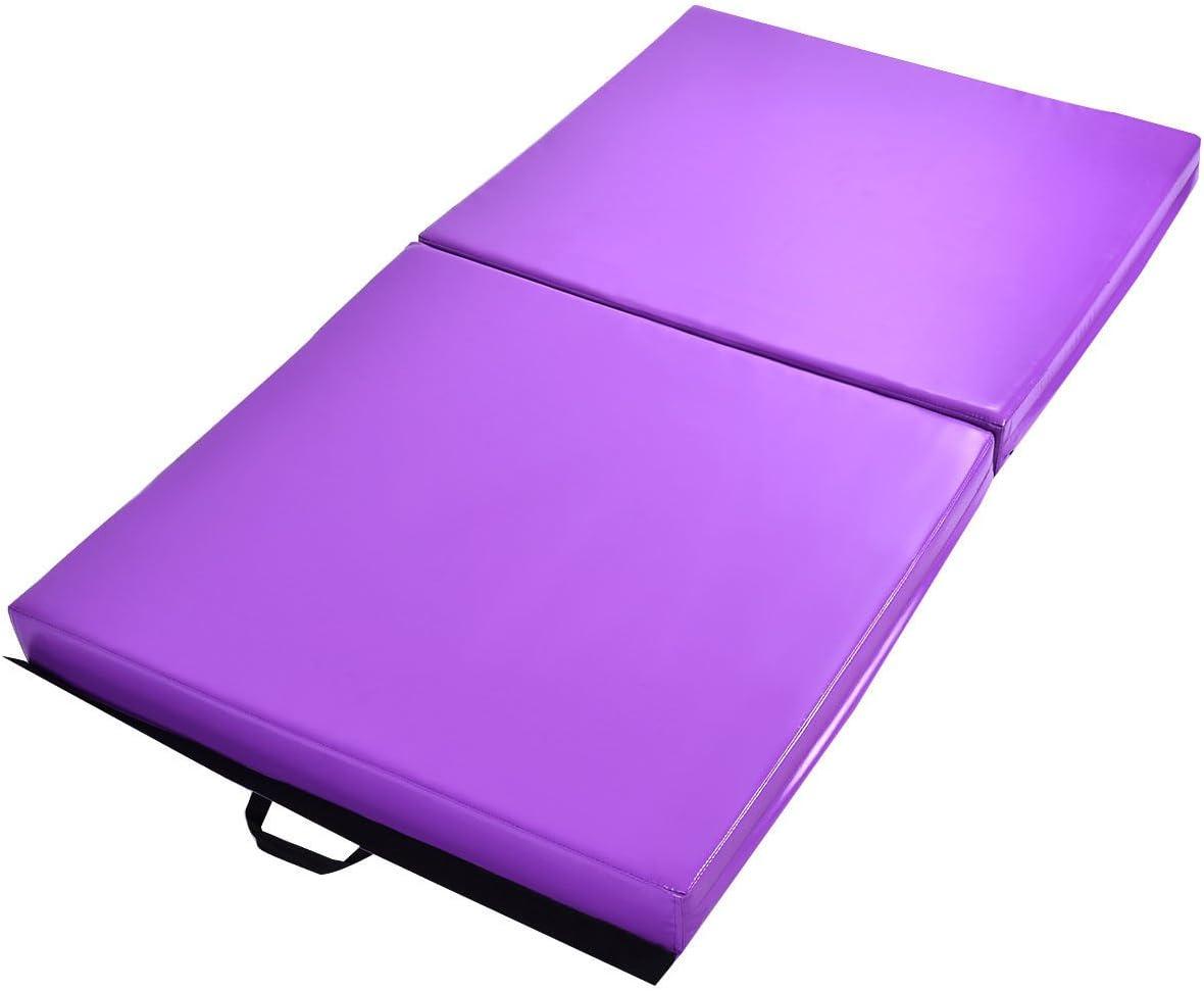 エクササイズマット 6フィートx38インチ x4インチ 体操 厚手 折りたたみパネル2枚 フィットネスパープル 電子書籍付き