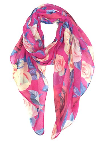 - GERINLY Rose Blossom Print Scarf Womens Flower Shwal Wrap (Hot Pink)