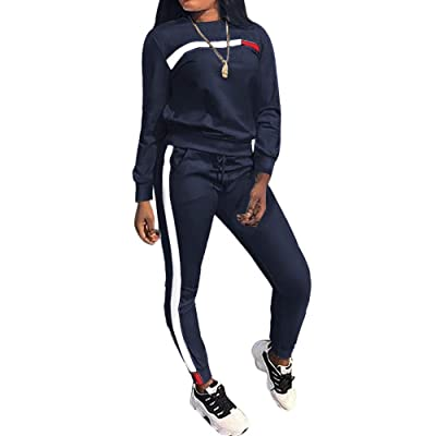 Women's 2 Piece Outfits - Stripe Patchwork Sweatsuits Long Short Sleeve Pullover Sweatshirt Skinny Pants Tracksuit Set at Women's Clothing store