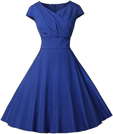 Lenfesh Vintage Retro Años 50 Vestido Rockabilly de Mujer Vestido ...
