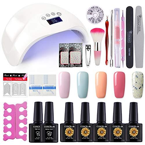 (Coscelia Nail Polish Manicure Kit 5 Colors Soak Off Gel Polish with 48W LED UV Nail Lamp Top and Base Coat Decoration Nail Remover Manicure Professional Tool Set Starter Kit)