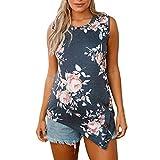 VIASA_ Women Plus Size Vest Inregular Floal Prints Button Blouse Tops Beach Vest Tank Camisole (Gray, L)