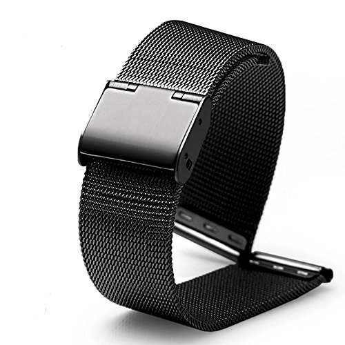 Calendar Yellow Bracelet - DL Watch Strap, Milanese Mesh Stainless Steel Metal Replacement Band Bracelet for Men's Women's Watch, Available in Black, Silver, 18mm / 20mm / 22mm