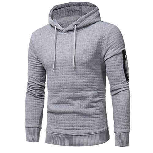 Long Sleeve Plaid Hoodie Hooded Solid Sweatshirt Drawstring Tops Mens' Jacket Coat Outwear Overcoat (Gray, XXXL) by Danhjin Mens' (Image #2)