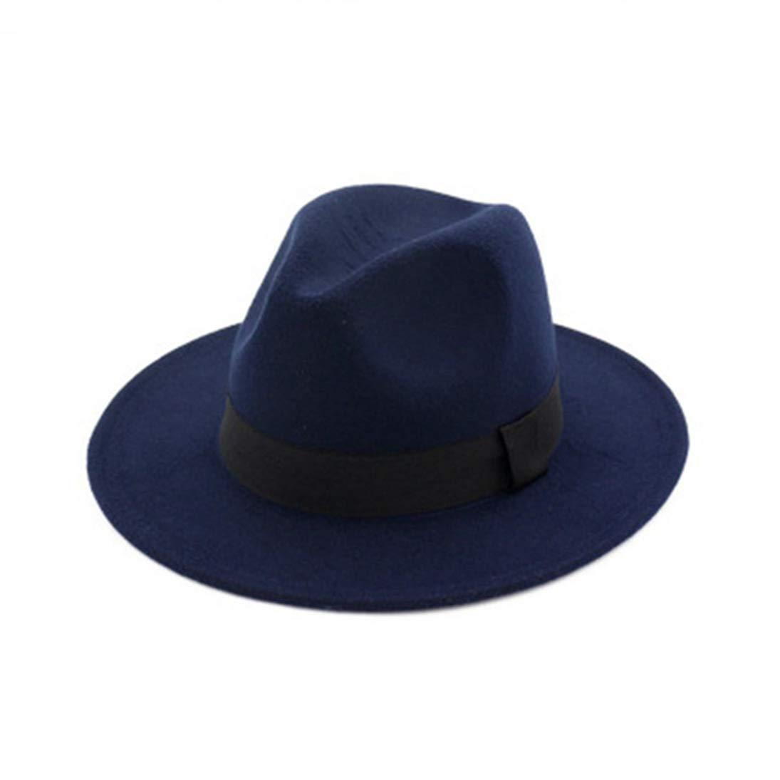 Wool Felt Fedora Hats for Men Women Unisex Classic Flat Wide Brim Cotton Trilby Jazz Hat with Black Band
