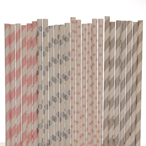 Pink and Grey Paper Straw Mix - Striped and Polka Dots (25)