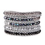 KELITCH Discolor Crystal 5 Wrap Bracelet Handmade Gray Leather Stretch Top Bracelets